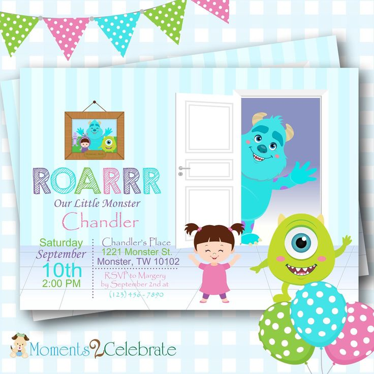 Monsters Inc Birthday Invitations, Monsters Inc Birthday Invitation, Monster Party, Little Monster Party Invitations, Monster Bash - #M19 by Moments2Celebrate on Etsy https://www.etsy.com/listing/92474537/monsters-inc-birthday-invitations
