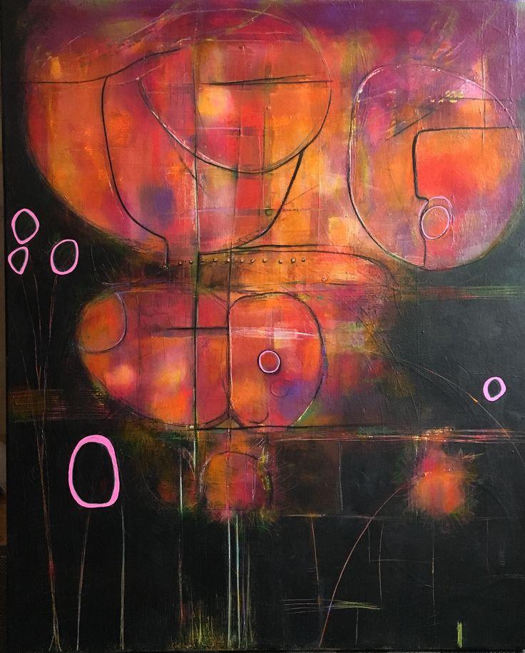 Acrylic mixed media painting by Pauline Lindberg 100 x 80 cm on canvas
