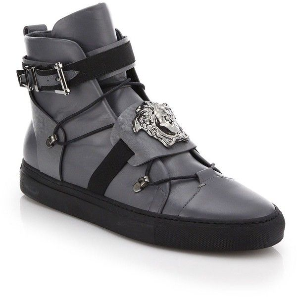 Versace Palazzo Leather High-Top Sneakers : Versace Shoes ($1,360) ❤ liked  on