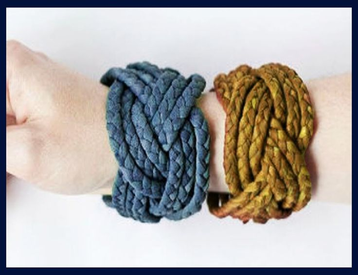MANUALIDADES ๑ PULSERAS TEJIDAS CON PLAYERA RECICLADA - bracelets with recycled clothing