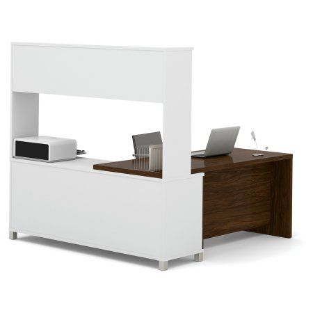 Bestar Pro-Linea L-Desk with Hutch, White & Oak Barrel, Multicolor