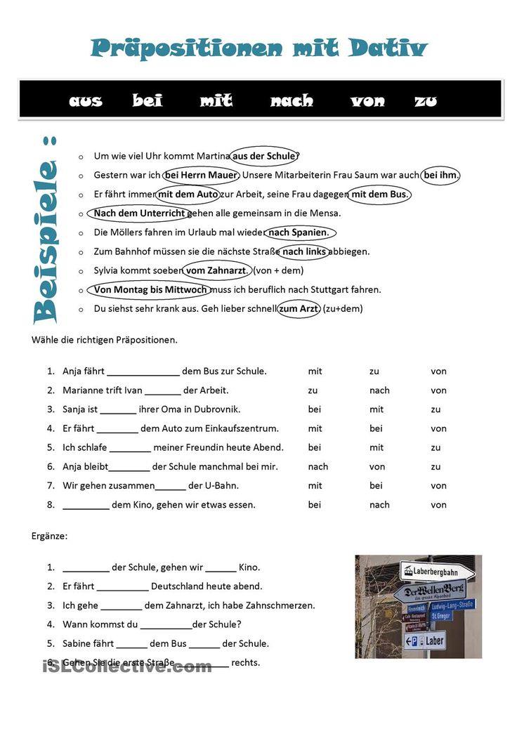 Praepositionen mit dativ | Frei DAF worksheets