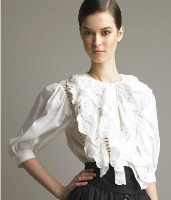 Great for A body type with puffed 3/r sleeve, fabric fullness at upper body.  Avoid on long neck (as this model should have done).  Romantic and dramatic personal style.