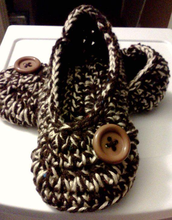 Women's Crochet Brown Slippers  Brown and Cream by GrammaLeas