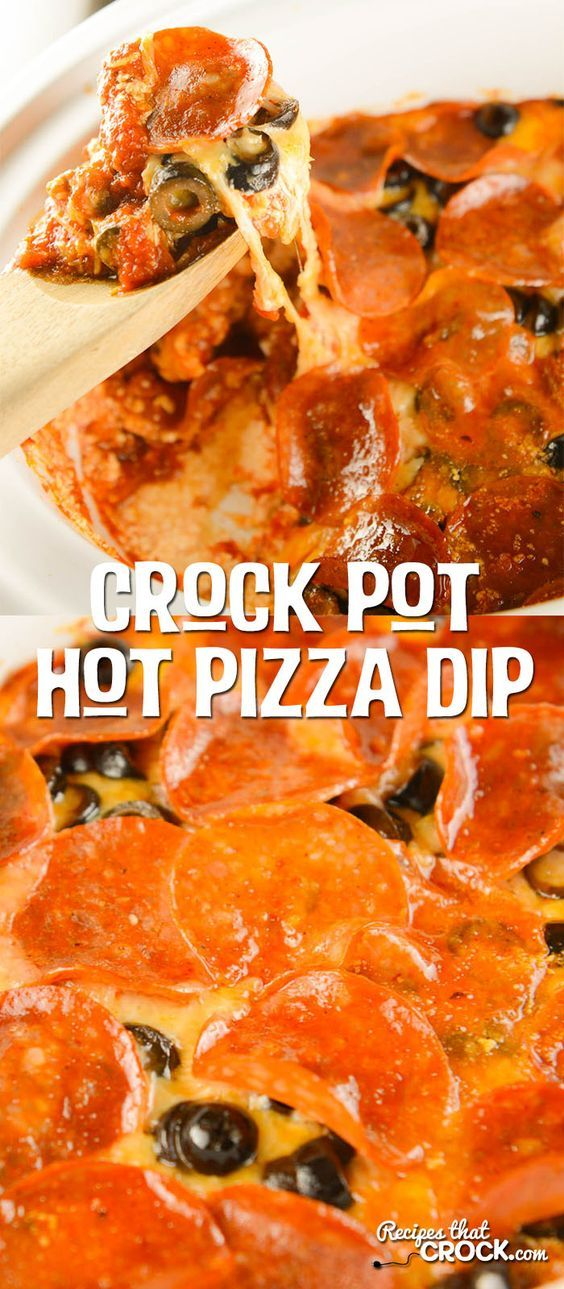 Crock Pot Hot Pizza Dip : All the fun of pizza night in a yummy party slow cooker dip recipe!