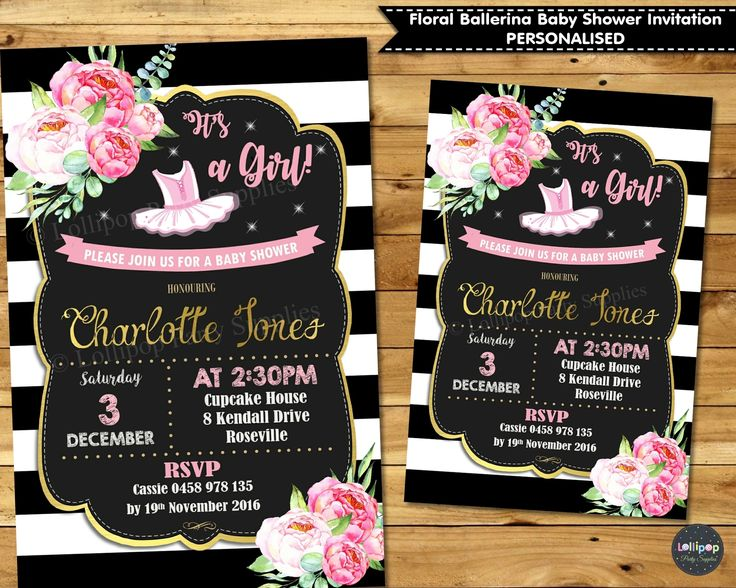 Floral Ballerina Baby Shower Personalised Invitation