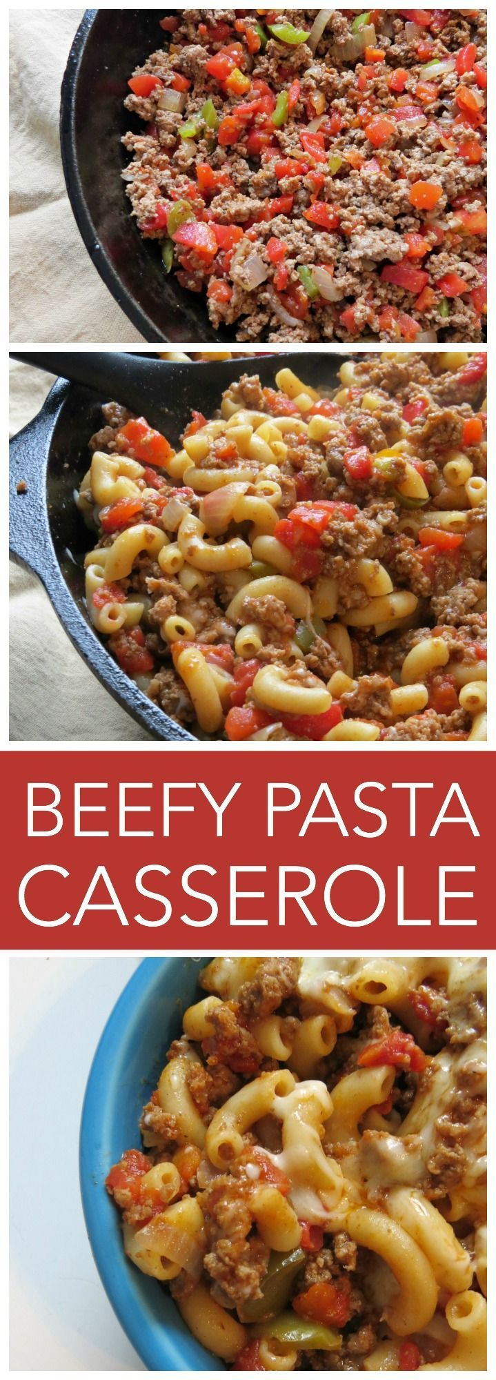 Beefy Pasta Casserole recipe An easy dinner casserole recipe your whole family will LOVE! delicious