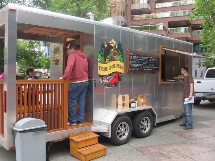 Check out the deck on this food trailer, love it!