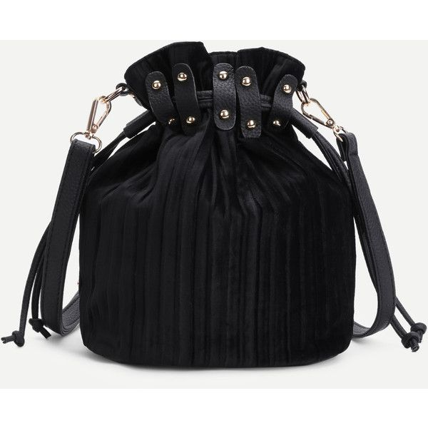 SheIn(sheinside) Drawstring Design Corduroy Bucket Bag (115 HRK) ❤ liked on Polyvore featuring bags, handbags, shoulder bags, black, crossbody shoulder bag, bucket bags, drawstring crossbody, drawstring shoulder bag and cross body