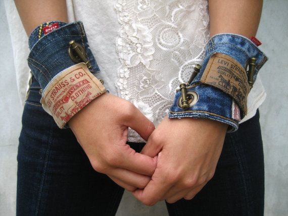 Levi Denim Cuff Bracelet Jeans Bracelet Blue Denim by PieceLust, $25.00