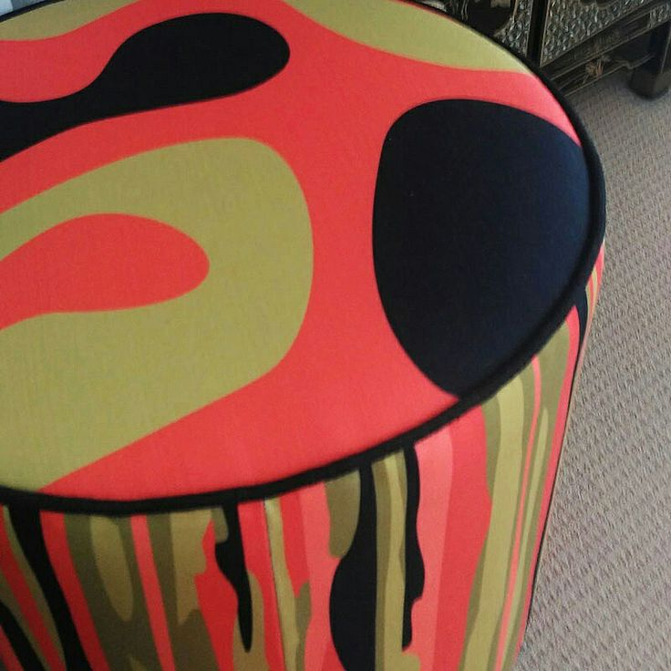 IT'S WARMING UP! This footstool is covered in #LavaPaprika (top) and #RiminiPaprika (side) to keep the warmth going. Fabric online @socialfabric.com.au designed by #BrisbaneTextileDesigner #LynneTanner  #retrofabrics #furnishingfabric  #midcenturymodern #australianmade #interiordesign #decor