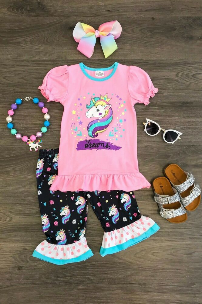 dc76a03c4 Details about Girls 2 PC Capri Pants Set Toddler Baby Kids Clothing Lemon  Ruffle Capri Set | Hazel ❤ | Toddler outfits, Kids outfits, Clothes