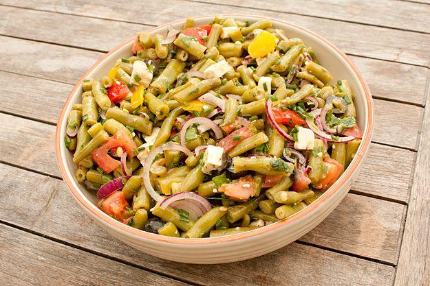 Sperziebonen salade met feta en tomaat