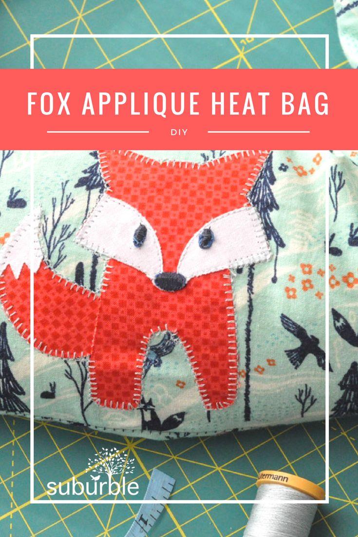 FOX APPLIQUE MICROWAVE HEAT BAG #sewing #tutorial #applique