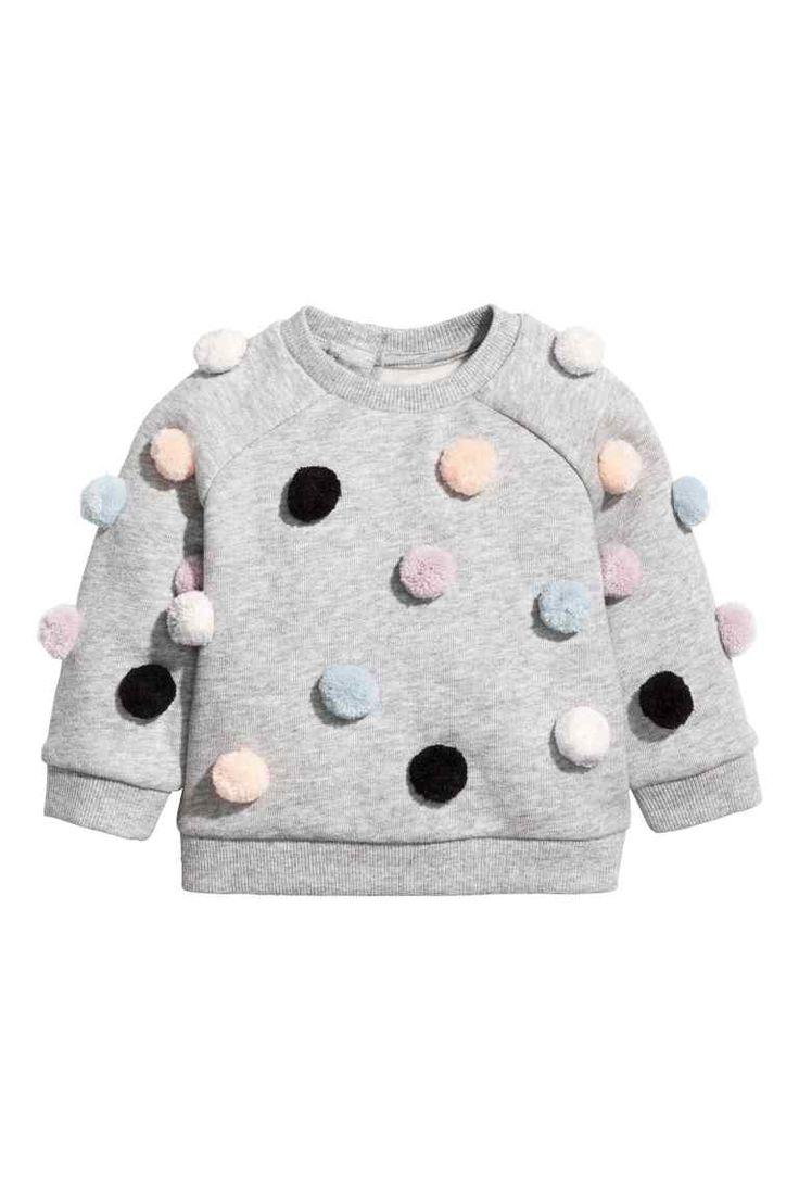Sweater met pompons - Grijs gemêleerd - KINDEREN | H&M BE 1