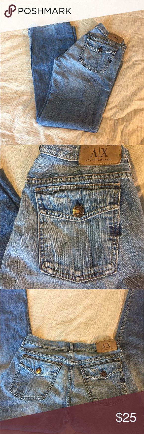 "Armani Exchange Jeans 👖 Soft and comfy with distressed look. Some wear at bottom of leg. 30"" inseam. Armani Exchange Jeans"