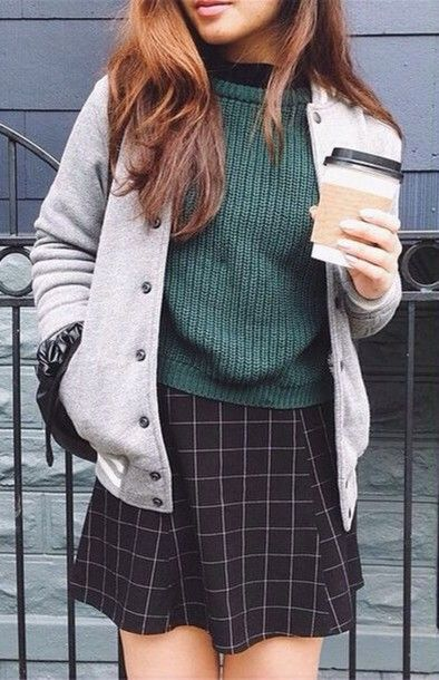 skirt grid quilted sweater green black white teddy grey college outfit style street women checkered skirt baseball jacket