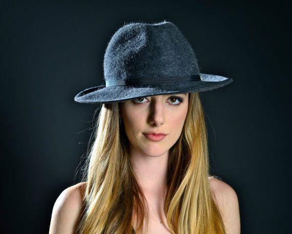 Mens Felt Fedora Hat Men Dark Grey Felt Hat Fall by KatarinaHats