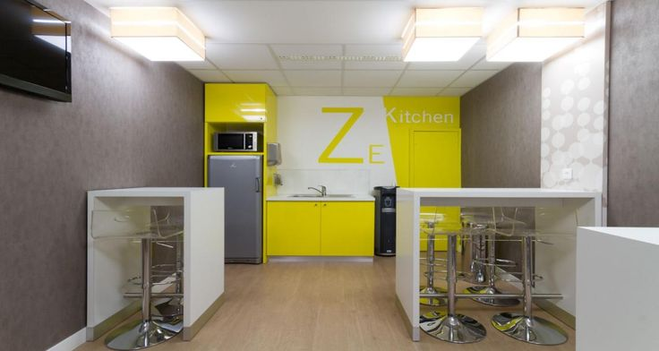 Kitchen into the offices of Solucom in Paris, France