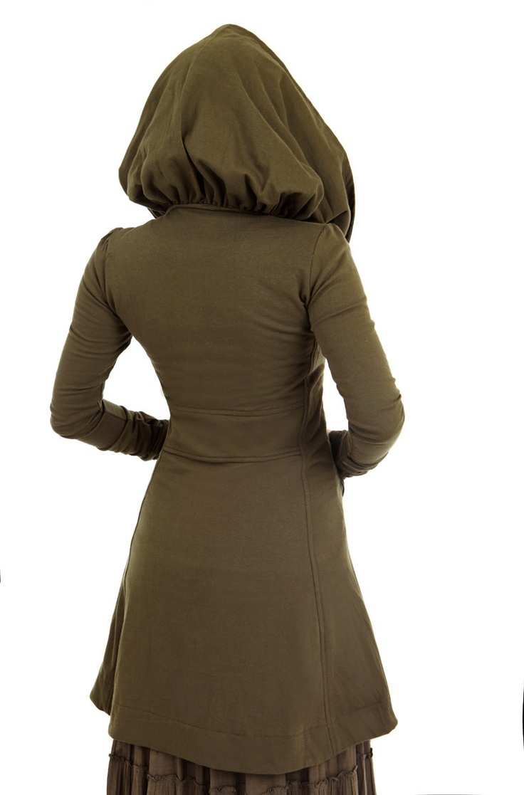 Olive green women's hoodie, long, gorgeous silhouette with a generous hood, via Etsy.