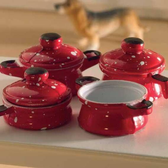 Dolls House Emporium Red Saucepan Set, 7 pcs