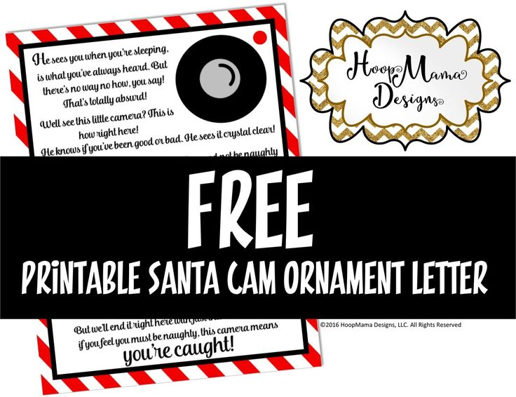 HoopMama Designs, LLC -      Free Printable Santa Cam Letter - PDF FILE, $0.00 (http://hoopmamadesigns.com/free-printable-santa-cam-letter-pdf-file/)