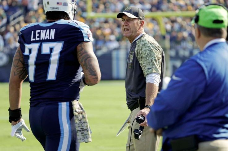 Packers vs. Titans:  47-25, Titans  -  November 13, 2016  -      Tennessee Titans head coach Mike Mularkey talks to Tennessee Titans tackle Taylor Lewan (77) after Lewan was ejected in the first half of an NFL football game against the Green Bay Packers Sunday, Nov. 13, 2016, in Nashville, Tenn.