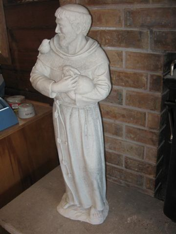 "ST FRANCIS Cast Concrete Statue 32""h Garden Sculpture by eEarthExchange. $169.95. Ships within 10 business days. Proudly made in the USA, Considered Frost proof. Cast Concrete - No Resin. 32""H, 10""W, 8""D. Each casting is hand finished using an antiquing stain that permanently changes the exterior surface to one of the colors listed above. Due to the nature of this process, each casting will have subtle variations in the color, giving your statue an individual and un..."