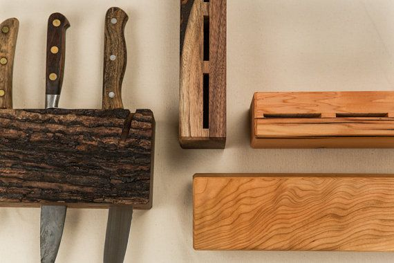 Wooden Hanging Knife Block by MatchlessMade on Etsy, $40.00