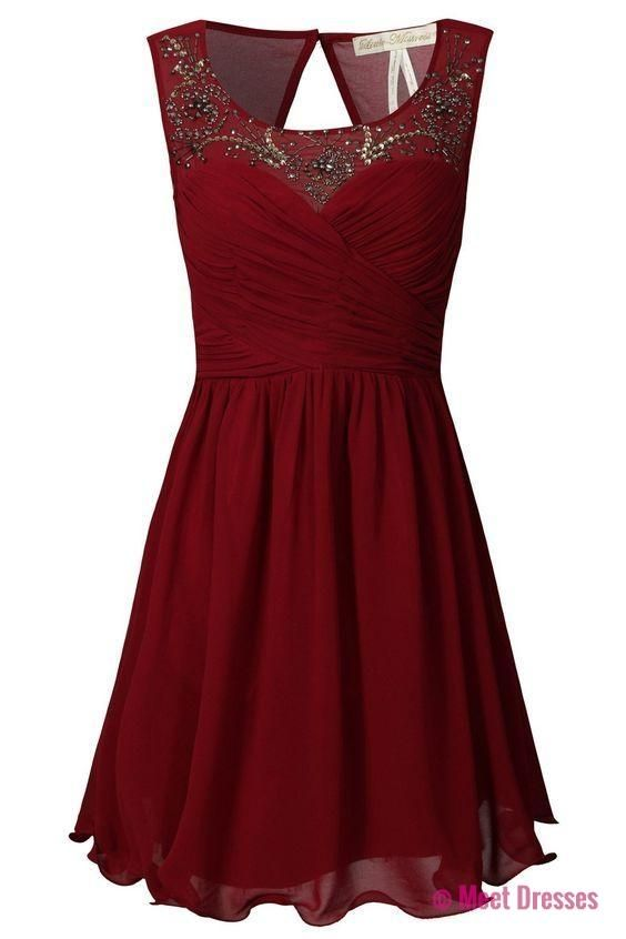 Burgundy A-line Sweetheart Chiffon Short Evening Dress with Beaded Illusion Neckline PD20182171