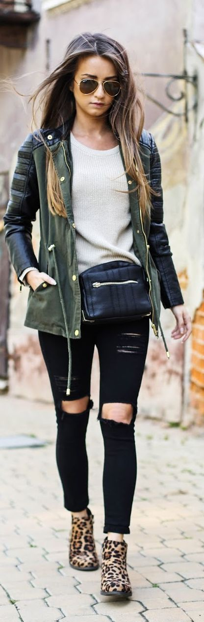 skinny ripped jeans, aviators, leoparb boot #streetstyle #fall #spring casual outfit