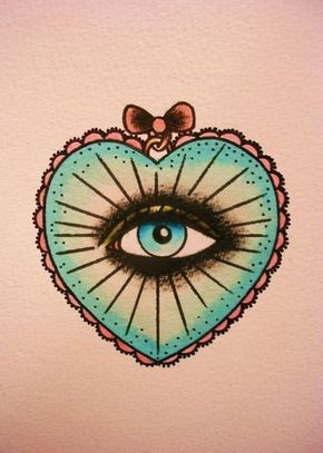 Old School Tattoo Tatouage   Tattooblr – Best Tattoos Eye- I did a drawing a loooong time ago and gave it to my English teacher since she saw it on my binder and loved it so much.