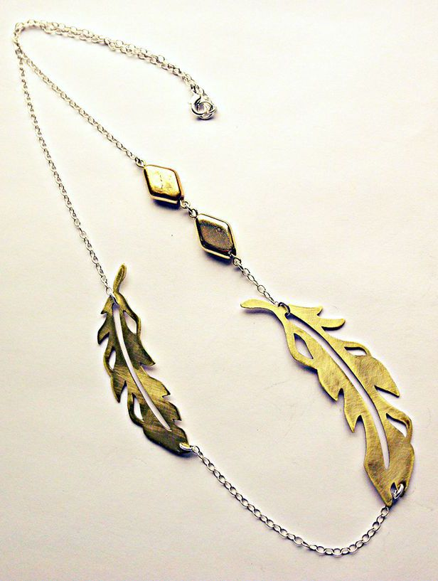 Brass Feather Necklace