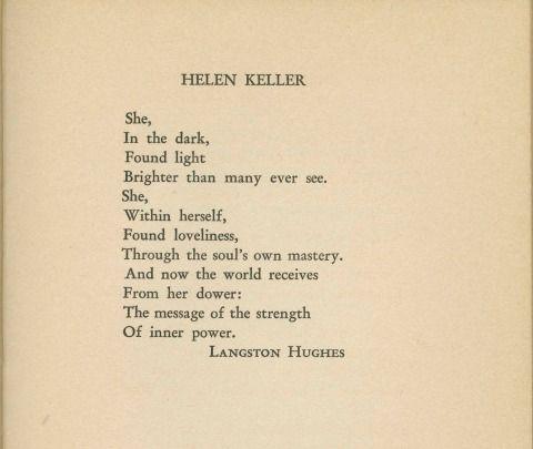Langston Hughes -- poem about Helen Keller