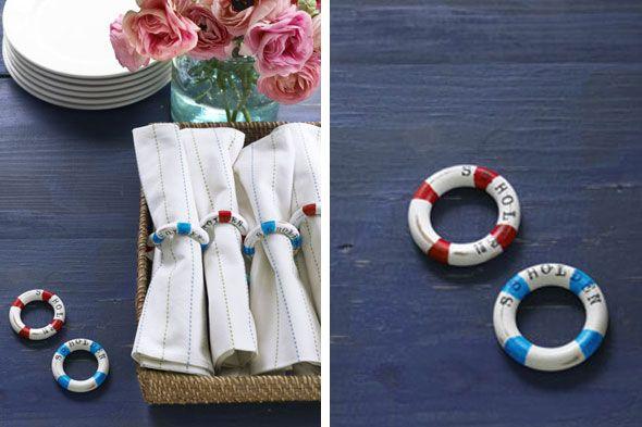 Life Preserver Napkin Rings (made from shower curtain rings!)   36 Utterly Charming Nautical DIYs