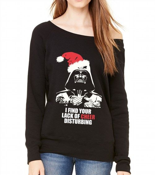 32.00$  Buy now - http://viynx.justgood.pw/vig/item.php?t=p211i2447134 - Lack of Cheer Funny Darth Vader Starwars Christmas Off Shoulder Sweatshirt 32.00$