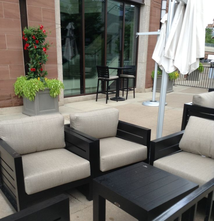 Cafe outside the Rose Theatre in Brampton, Ontario #patio #furniture #outdoors