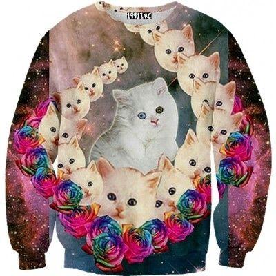 Disturbing.  Cosmic Cats Galaxy Sweater   20 Sweatshirts You Need In Your Life Immediately