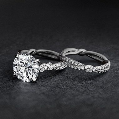 Wisteria Engagement Ring In Platinum With Round Center Stone And Twisted Pave Band David Yurman Jewels Pinterest Wedding