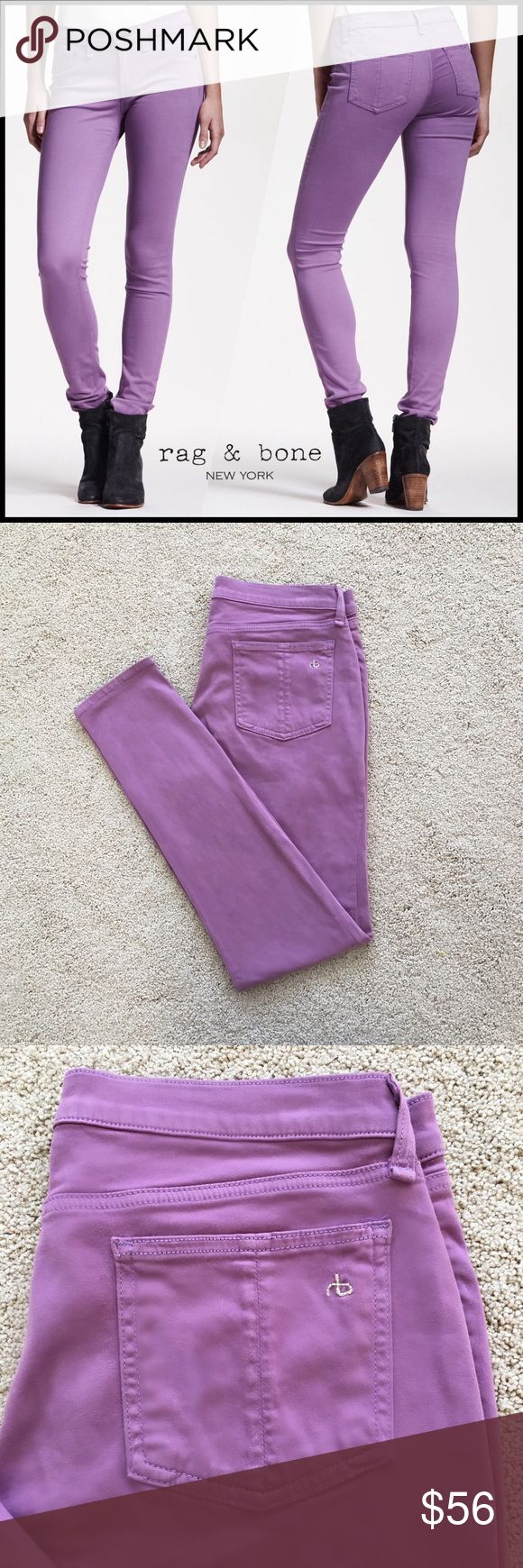 """Rag & Bone Plush Twill Legging Jeans in Violet Rag & Bone plush stretch twill legging jeans  Slim, polished profile Violet (a light lilac purple) Stretch twill; jegging / leggings skinny fit 5-pocket style; Rag & Bone logo stitching on back pocket Cotton/modal/polyurethane  Size 30 Laying flat, unstretched, waist measures 16"""" inches across. Inseam 30.5"""". Bottom Leg 5"""".   Tiny mark on the right thigh (see pic 4). A dry cleaner could prob. get it out but I've never bothered bc it's so faint…"""