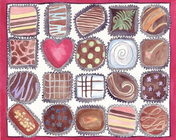 Watercolor Painting - Box of Chocolates Art - Food Illustration Watercolor Art Print, 11x14 Wall Art, Candy Series no. 3