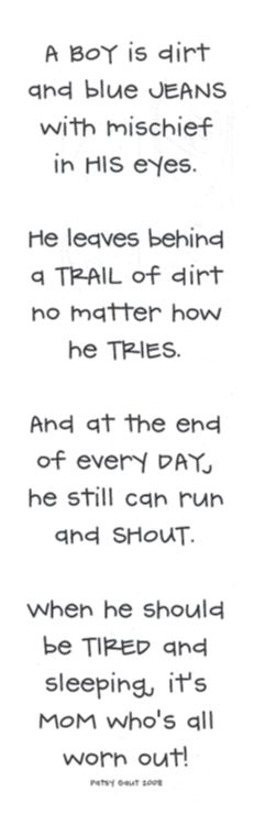 a boy is...  Can absolutely relate!!!: Cute Boys Quotes, My Sons, Boys Rooms, Baby Boys, So True, Little Man, Poem, Love My Boys, Little Boys