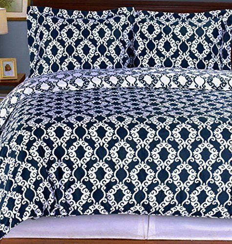 Moroccan Medallion Pattern Navy Blue And White Cotton 3 Pieces Reversible  Bedding Duvet Comforter Cover And Shams Set. Soft Egyptian Cotton Bedding  Ensemble ...