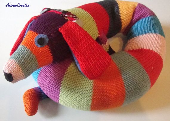 Knitting Pattern For Sausage Dog Draught Excluder : Hand knitted Max the sausage dog/draught excluder toy - READY TO SHIP Favor...