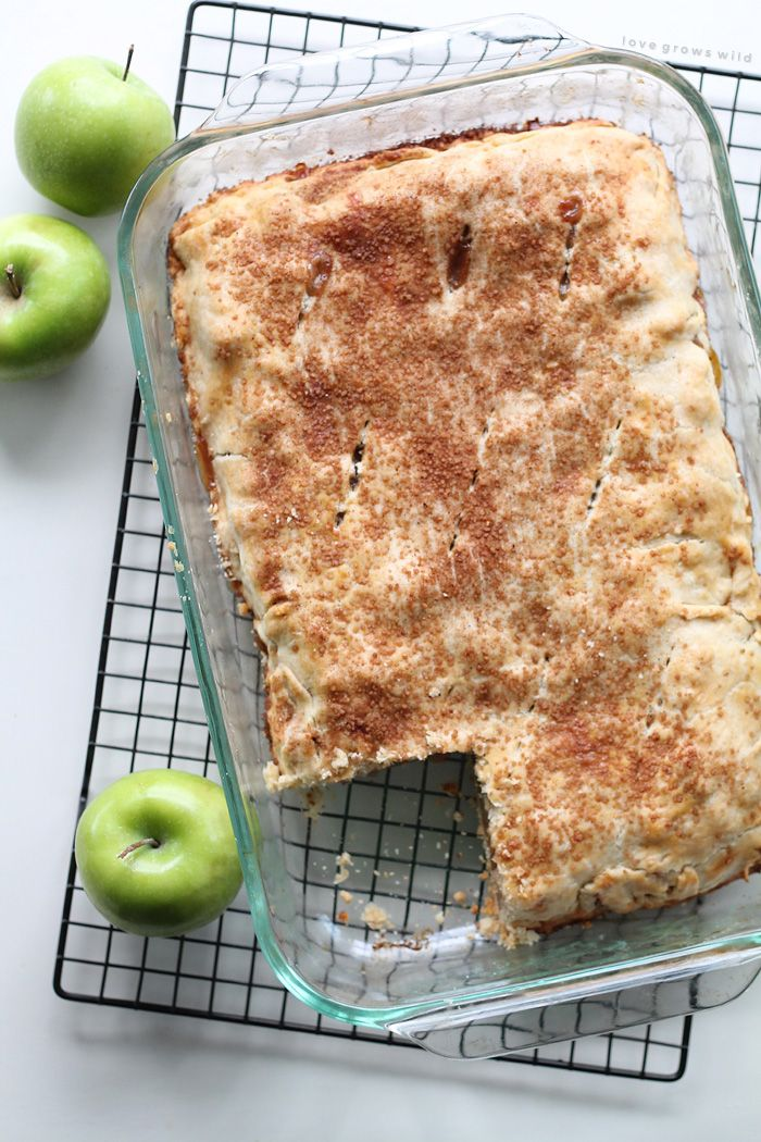 These Apple Pie Bars are the perfect handheld dessert and SO delicious! Made with fresh apples and topped with a sweet vanilla glaze!