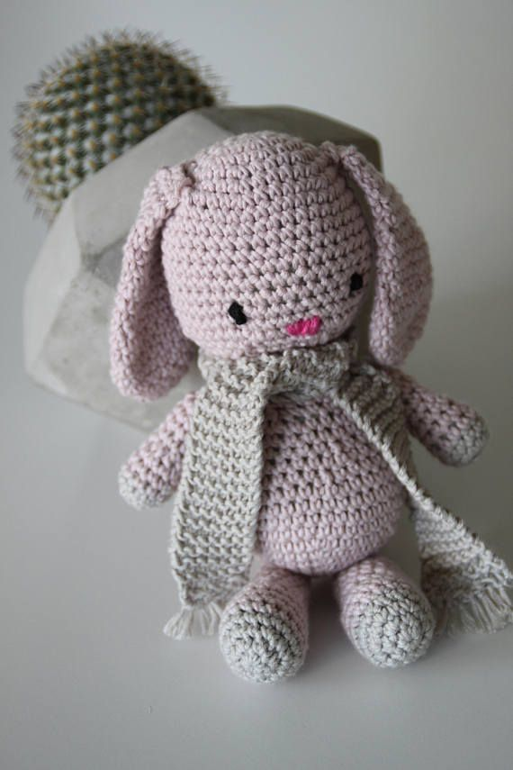 Little Missy rabbit is a crochet, cotton rabbit.  It has no loose parts making it baby safe. The eyes and nose are embroider on, so nothing that can fall of.  This is a really nice gift for a new member to the world, nice and soft.  She is 18 cm tall and easy to grip and she can be machine washed if needed.