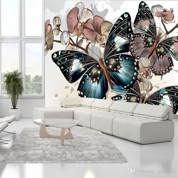 Charming Butterfly U0026Orchid Wallpaper Wall Murals Custom Silk Photo Wallpaper  Kidu0027s Room Waterproof Wall Art Room Part 69