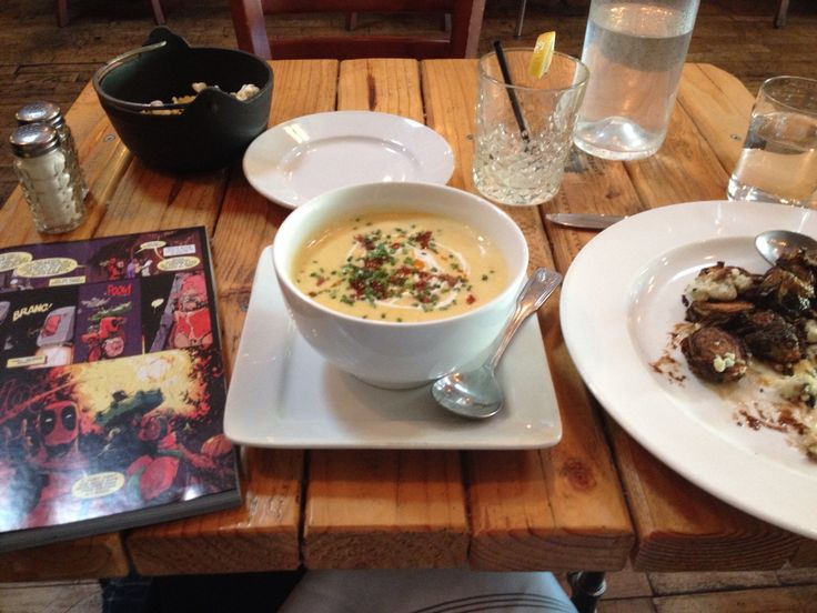 Cheddar potato soup and fried brussels sprouts with blue cheese and a lemon vodka drink at Sidecar in San Luis Obispo, with a side of Deadpool  Warm and fuzzy memories