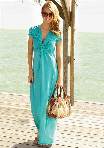 What a great beach dress. maxi dress with sleeves