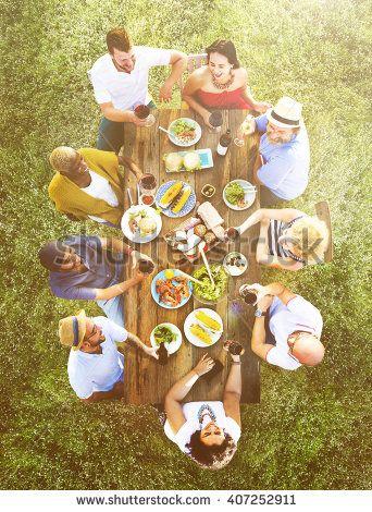 Friends Bonding Celebration Food and Beverages Picnic Concept - stock photo